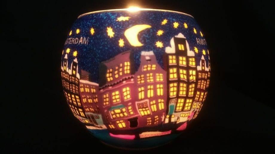 Leuchtglas Amsterdam Nacht